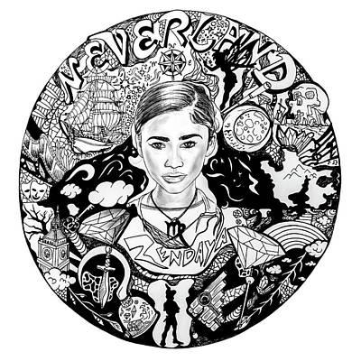 Zendaya's Neverland Black And White Drawing Poster