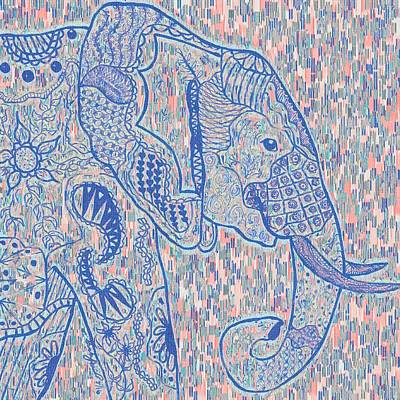 Zentangle Elephant-oil Poster by Becky Herrera
