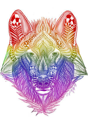 Zentangle Inspired Art- Rainbow Wolf Poster