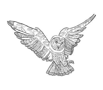 Zentangle Owl In Flight Poster by Cindy Elsharouni