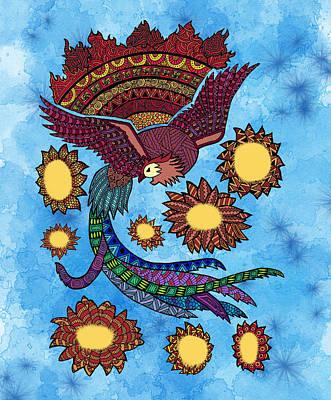 Zentangle Phoenix Poster by Federica Aprile