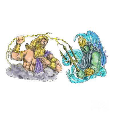 Zeus Thunderbolt Vs Poseidon Trident Tattoo Poster