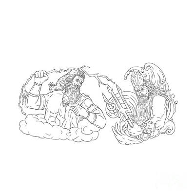 Zeus Vs Poseidon Black And White Drawing Poster by Aloysius Patrimonio