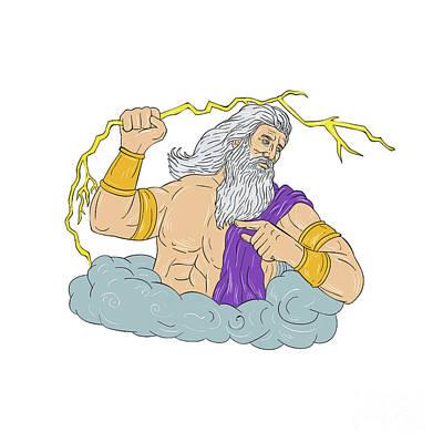 Zeus Wielding Thunderbolt Lightning Drawing Poster