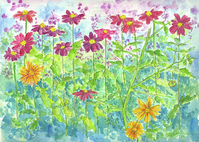 Poster featuring the painting Zinnias  by Cathie Richardson