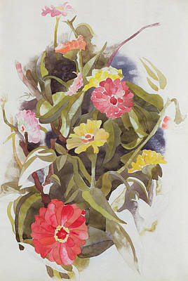 Zinnias Poster by Charles Demuth
