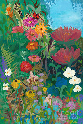 Zinnias Garden Poster