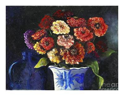 Poster featuring the painting Zinnias by Marlene Book