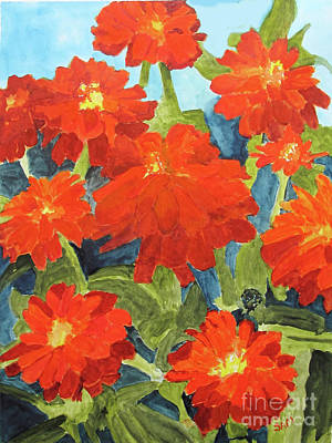 Poster featuring the painting Zinnias by Sandy McIntire
