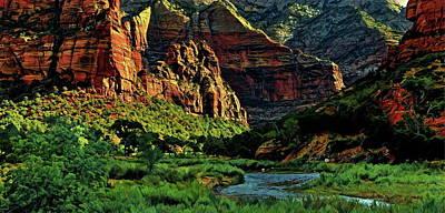 Zion Canyon River Poster