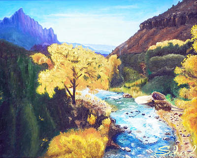 Poster featuring the painting Zion's In Autumn by Sherril Porter