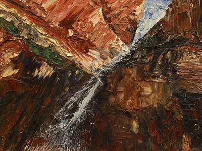 Zions Waterfall Poster by Jane Autry
