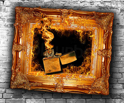 Zippo Flames And Frame 1 Art For The Sake Of Poster by Tony Rubino