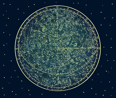 Zodiac Star Map Poster by Marianna Mills