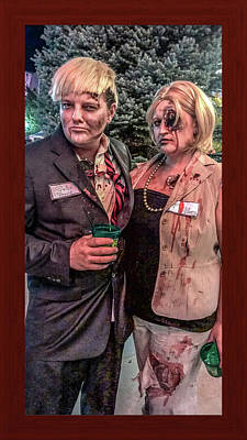 Zombie Donald Trump And Hillary Clinton Poster by Shirley Anderson