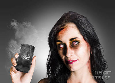 Zombie Business Woman Holding Dead Technology Poster