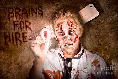 Zombie Holding Bright Light Bulb. Brains For Hire Poster by Jorgo Photography - Wall Art Gallery