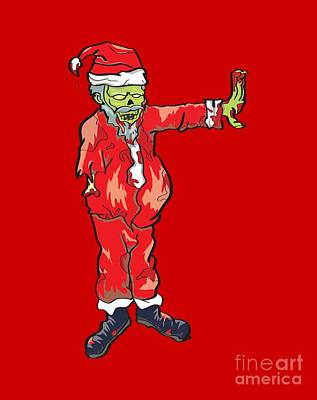 Zombie Santa Claus Illustration Poster