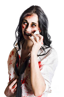 Zombie Woman Distressed Poster