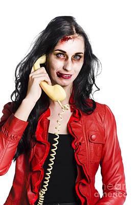 Zombie Woman On Telephone Poster
