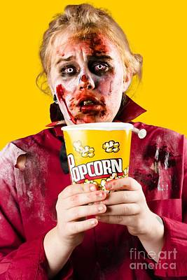 Zombie Woman Watching Scary Movie With Popcorn Poster