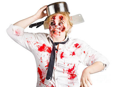 Zombie Woman With Cooking Pan On Her Head Poster