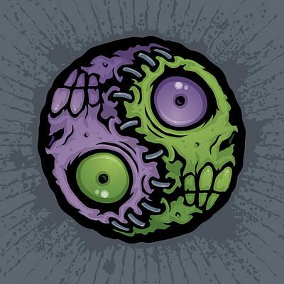 Zombie Yin-yang Poster by John Schwegel