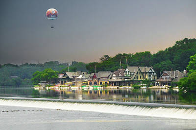 Poster featuring the photograph Zoo Balloon Flying Over Boathouse Row by Bill Cannon