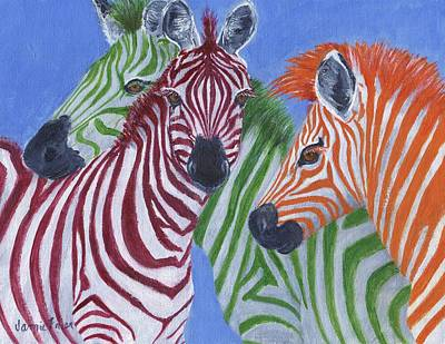 Poster featuring the painting Zzzebras by Jamie Frier