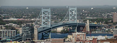 Poster featuring the photograph Benjamin Franklin Bridge Panorama by Bill Cannon