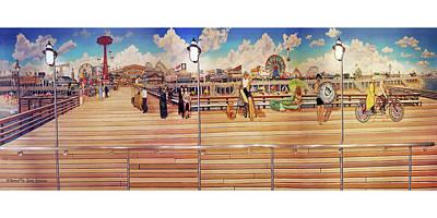 Coney Island Boardwalk Towel Version Poster