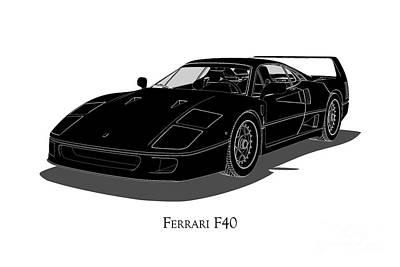 Ferrari F40 - Front View Poster
