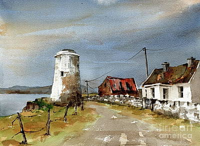 Poster featuring the painting Lighthouse On Inis Boffin, Galway by Val Byrne