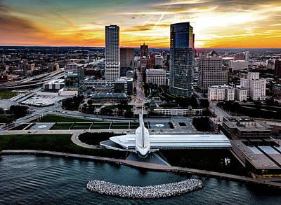 Poster featuring the photograph Milwaukee Sunset by Randy Scherkenbach