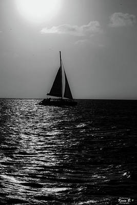 Sailing Into The Sunset Black And White Poster