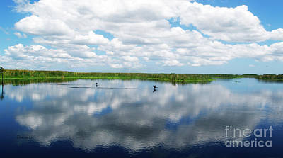 Skyscape Reflections Blue Cypress Marsh Near Vero Beach Florida C6 Poster