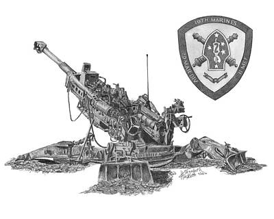 Poster featuring the drawing 10th Marines 777 by Betsy Hackett