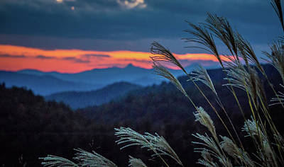 Poster featuring the photograph Sunset Over Peaks On Blue Ridge Mountains Layers Range by Alex Grichenko