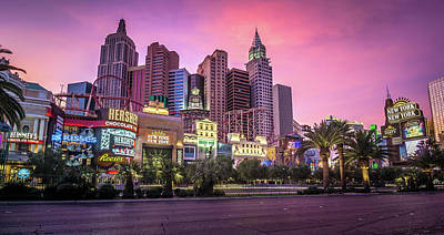 Poster featuring the photograph New York City Skyline In Las Vegas Nevada by Alex Grichenko