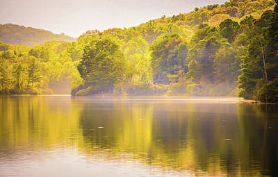 Poster featuring the photograph Julian Price Lake, Along The Blue Ridge Parkway In North Carolin by Alex Grichenko