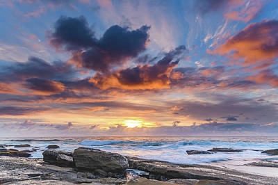 An Atmospheric Sunrise Seascape Poster