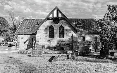 19th Century Sandstone Church In Black And White Poster