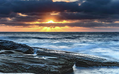 A Moody Sunrise Seascape Poster