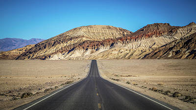Poster featuring the photograph Lonely Road In Death Valley National Park In California by Alex Grichenko