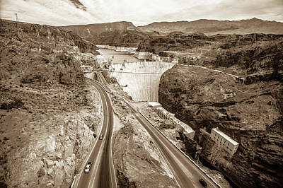 Poster featuring the photograph Wandering Around Hoover Dam On Lake Mead In Nevada And Arizona by Alex Grichenko