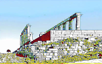 Abstract Of The Temple Of Poseidon Poster