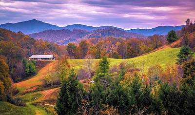 Poster featuring the photograph Autumn Season And Sunset Over Boone North Carolina Landscapes by Alex Grichenko