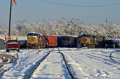 Poster featuring the photograph 3 Trains In The Snow by Joseph C Hinson Photography