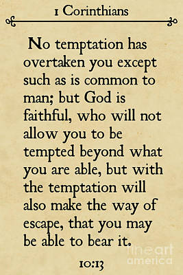1 Corinthians 10 13- Inspirational Quotes Wall Art Collection Poster