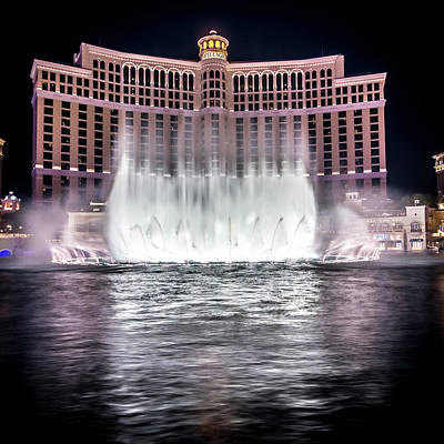 Poster featuring the photograph World Famous Fountain Water Show In Las Vegas Nevada by Alex Grichenko